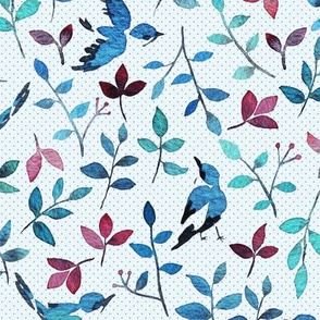 Birds and blooms in blue