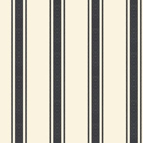 Modern Ticking Stripe-Black-charcoal/off white -Med