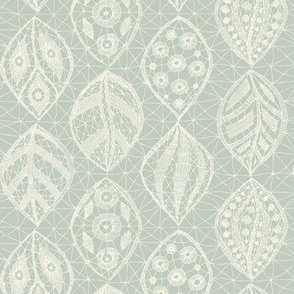 Lace Leaves - Ivory, Seaspray