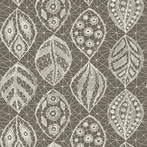 Lace Leaves - Ivory, Clay
