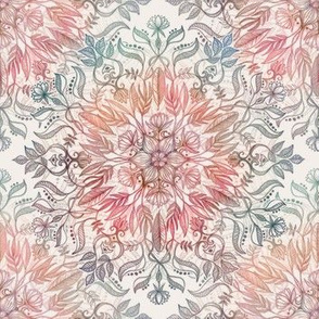 Autumn Spice Mandala in Coral, Cream and Rose small version