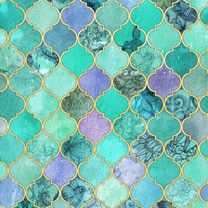 Pale Mint & Lilac Decorative Moroccan Tiles with Gold Edges