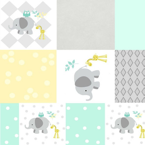 Elephant friends gray - cheaters quilt  42 modern minty