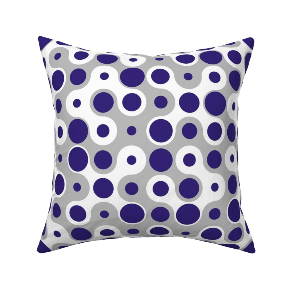 Catalan Throw Pillow featuring Connecting Dots - Blue Grey by zuzana_licko