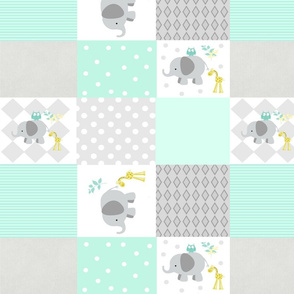 Elephant friends gray - cheaters quilt 42  minty mint
