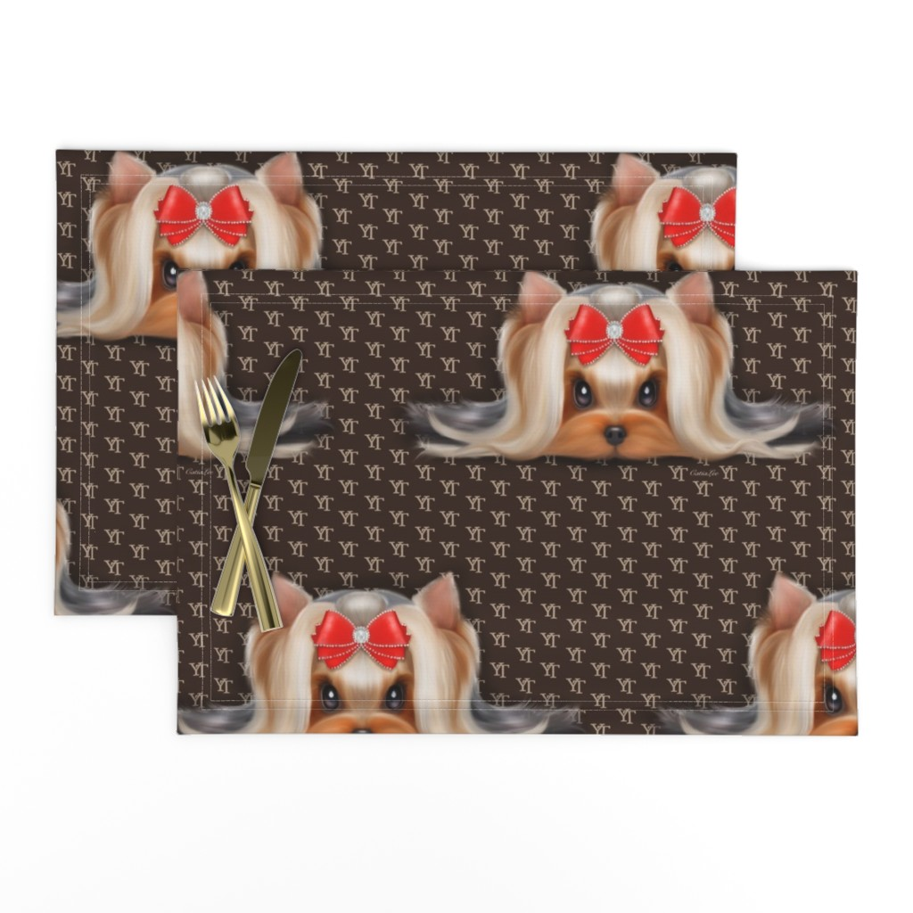 Lamona Cloth Placemats featuring Yorkie Beauty YT XL by catialee