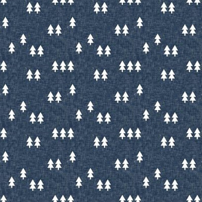 (small scale) trees on navy linen