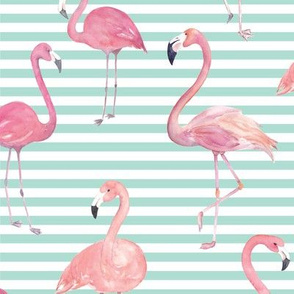 Summer Flamingos on Aqua Stripes