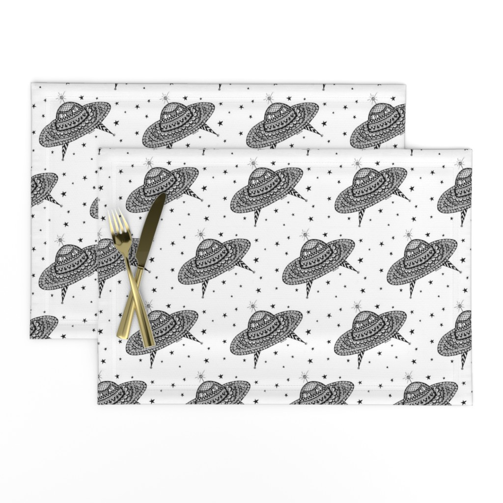 Lamona Cloth Placemats featuring Flying Saucers by barbuch