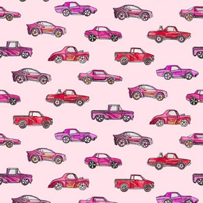 Girly Toy Cars in Watercolor on Pink