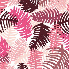 Green tropical hawaiian summer garden brazil plants and palm leaves pink