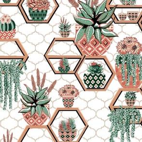 Moroccan Tile garden,  inspired by Moroccan Riad gardens, Marrakesh Garden succulents // Marrakech succulent fabric // cacti, western, Succulent flowers, succulent floral