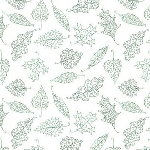 swirling leaves - green on white