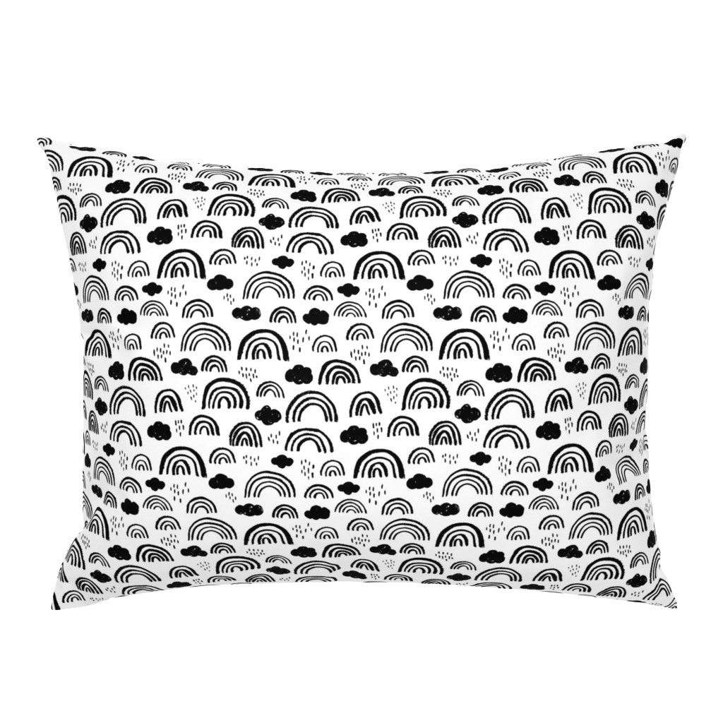 Campine Pillow Sham featuring Black and white Scandinavian abstract rainbow clouds happy rain sky gender neutral by littlesmilemakers
