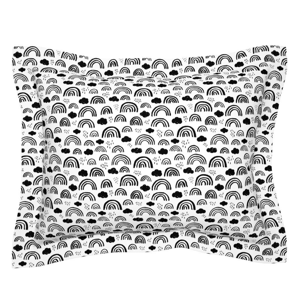Sebright Pillow Sham featuring Black and white Scandinavian abstract rainbow clouds happy rain sky gender neutral by littlesmilemakers