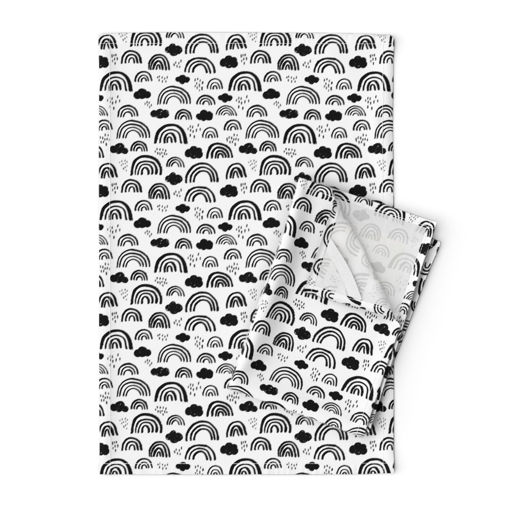 Orpington Tea Towels featuring Black and white Scandinavian abstract rainbow clouds happy rain sky gender neutral by littlesmilemakers