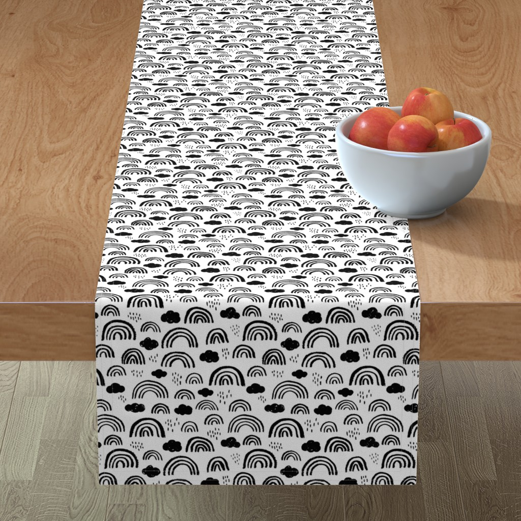 Minorca Table Runner featuring Black and white Scandinavian abstract rainbow clouds happy rain sky gender neutral by littlesmilemakers