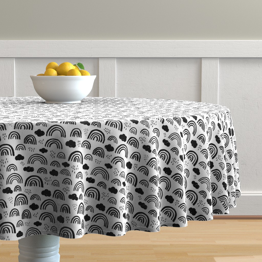 Malay Round Tablecloth featuring Black and white Scandinavian abstract rainbow clouds happy rain sky gender neutral by littlesmilemakers