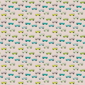 Cute vintage bohemian summer hippie van in blue lime and beige illustration pattern for kids XXS