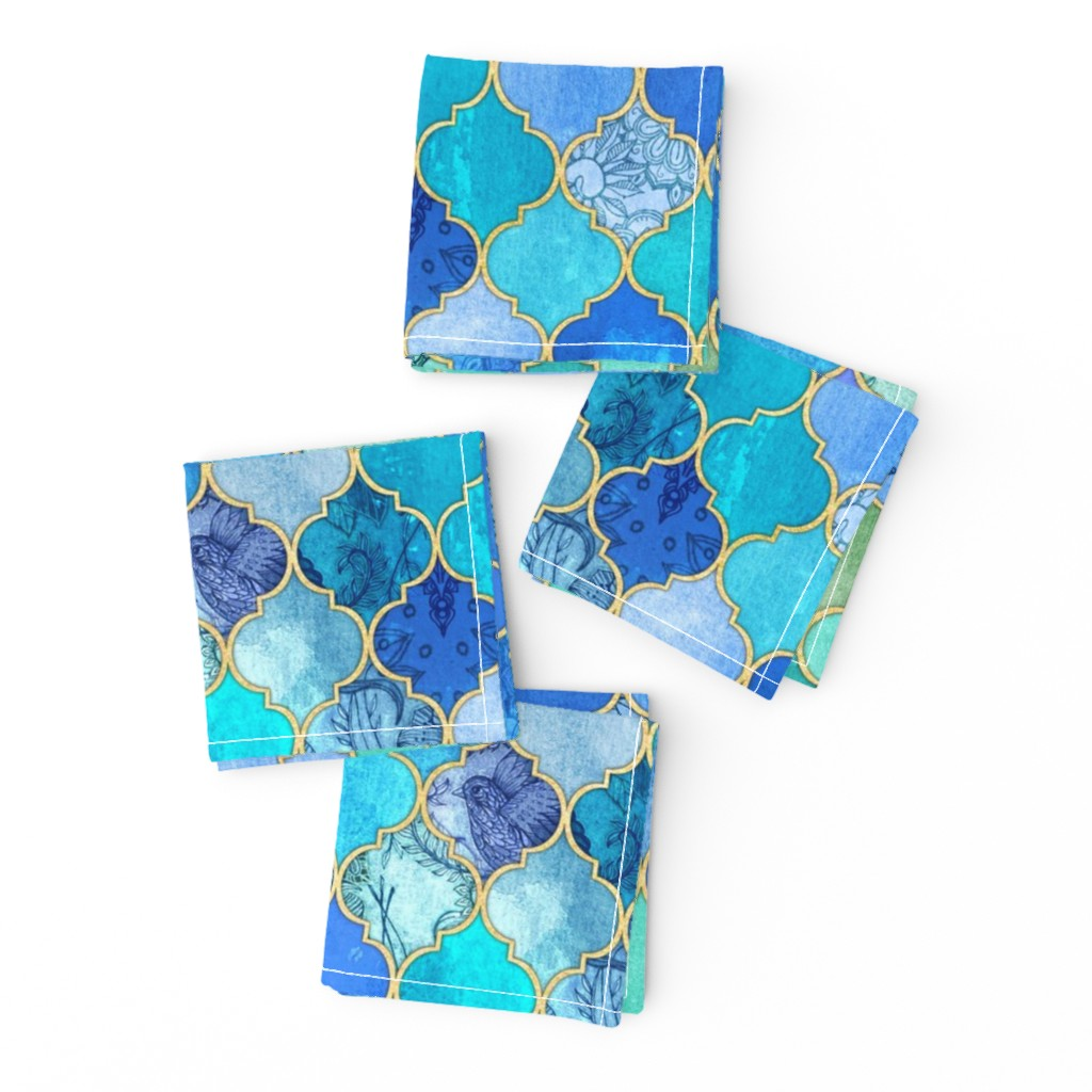 Frizzle Cocktail Napkins featuring Cobalt Blue and Aqua Decorative Moroccan Tiles with Gold by micklyn