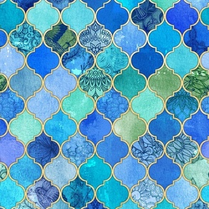 Cobalt Blue and Aqua Decorative Moroccan Tiles with Gold