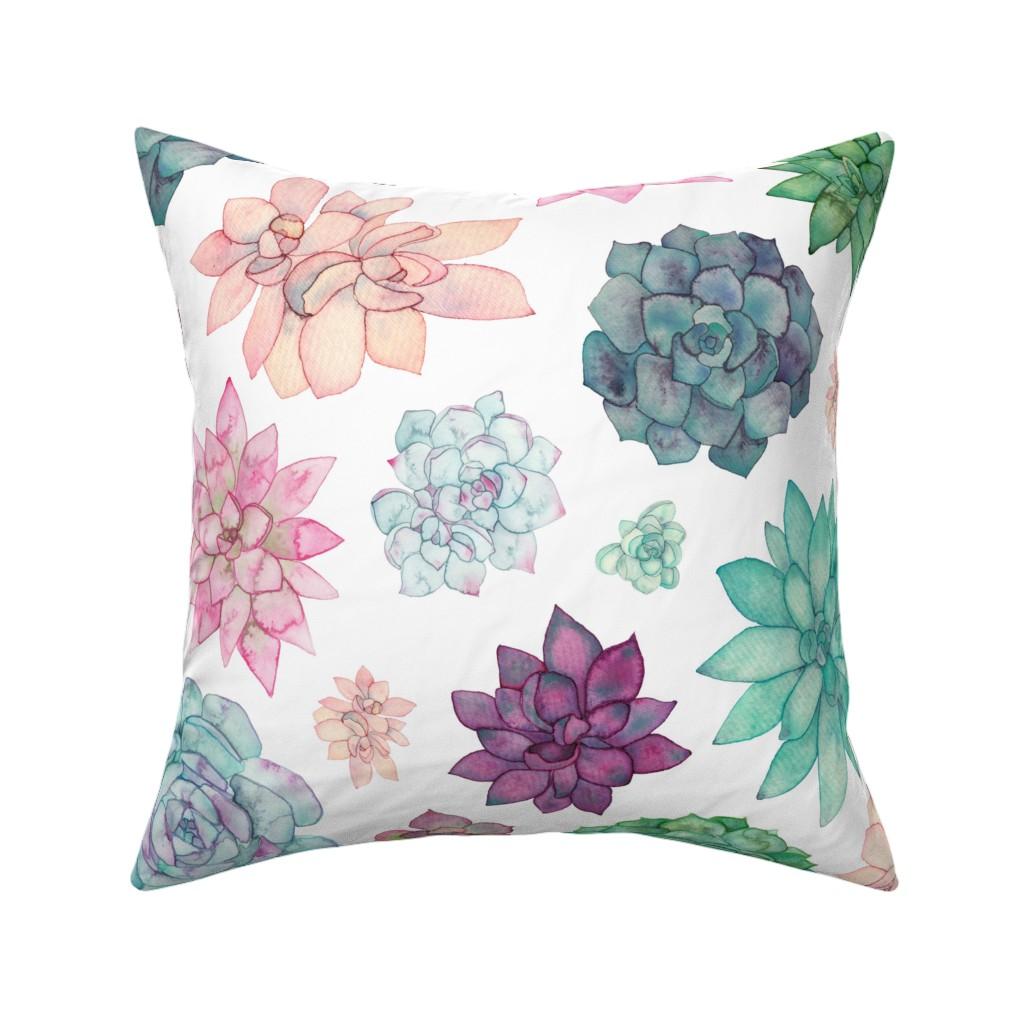 Catalan Throw Pillow featuring Succulent Garden by elena_o'neill_illustration_