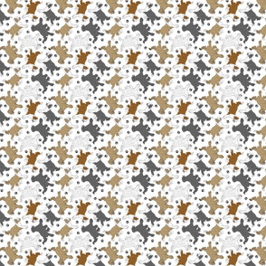 Trotting Chinese Crested powder puff and paw prints - tiny white