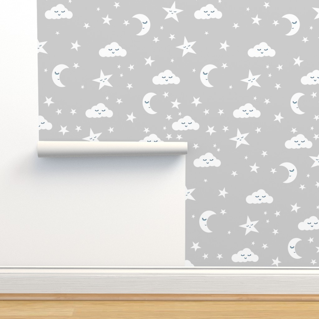 Moon And Stars Fabric Sweet Baby On Isobar By