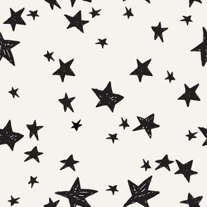 stars fabric // cream and black star design nursery baby design