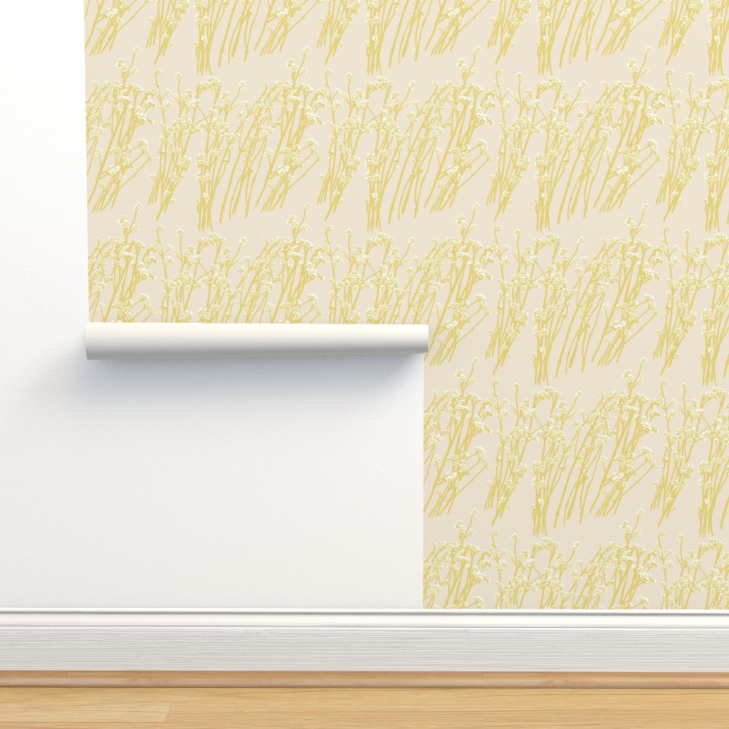 Isobar Durable Wallpaper featuring desert blooms - mustard/sand by cinneworthington