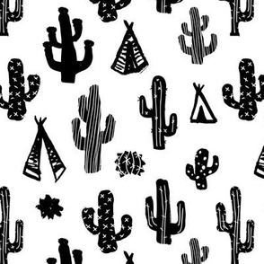 Black and white botanical cactus garden raw brush print