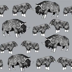 musk ox fabric // arctic animal fabric canada alaska greenland -  grey