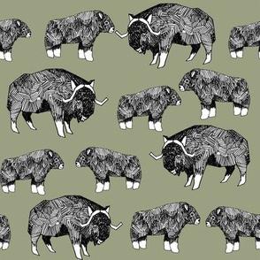musk ox fabric // arctic animal fabric canada alaska greenland - artichoke