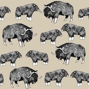 musk ox fabric // arctic animal fabric canada alaska greenland - khaki
