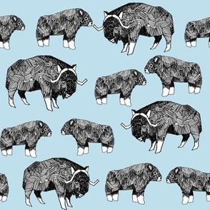 musk ox fabric // arctic animal fabric canada alaska greenland - light blue