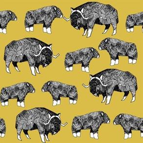 musk ox fabric // arctic animal fabric canada alaska greenland - mustard