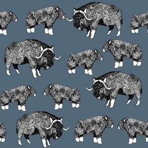musk ox fabric // arctic animal fabric canada alaska greenland - paynes grey