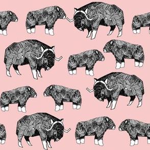 musk ox fabric // arctic animal fabric canada alaska greenland - pale pink