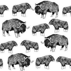 musk ox fabric // arctic animal fabric canada alaska greenland - white