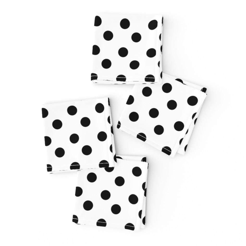 Frizzle Cocktail Napkins featuring polka dots MEDIUM 2x2  - white black by drapestudio