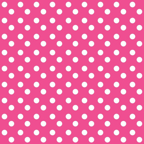 polka dots MEDIUM 2x2 -hottie pink white dots