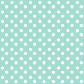 polka dots MEDIUM 2x2 - mint white