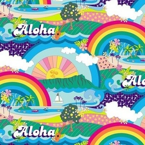 Aloha, Anuenue! (Hello, Rainbow!) {Custom} || Hawaii Hawaiian tropical Polynesian rainbow palm trees flowers hibiscus plumeria sun sunset sunrise ocean diamond head waves sailboat memphis 80s