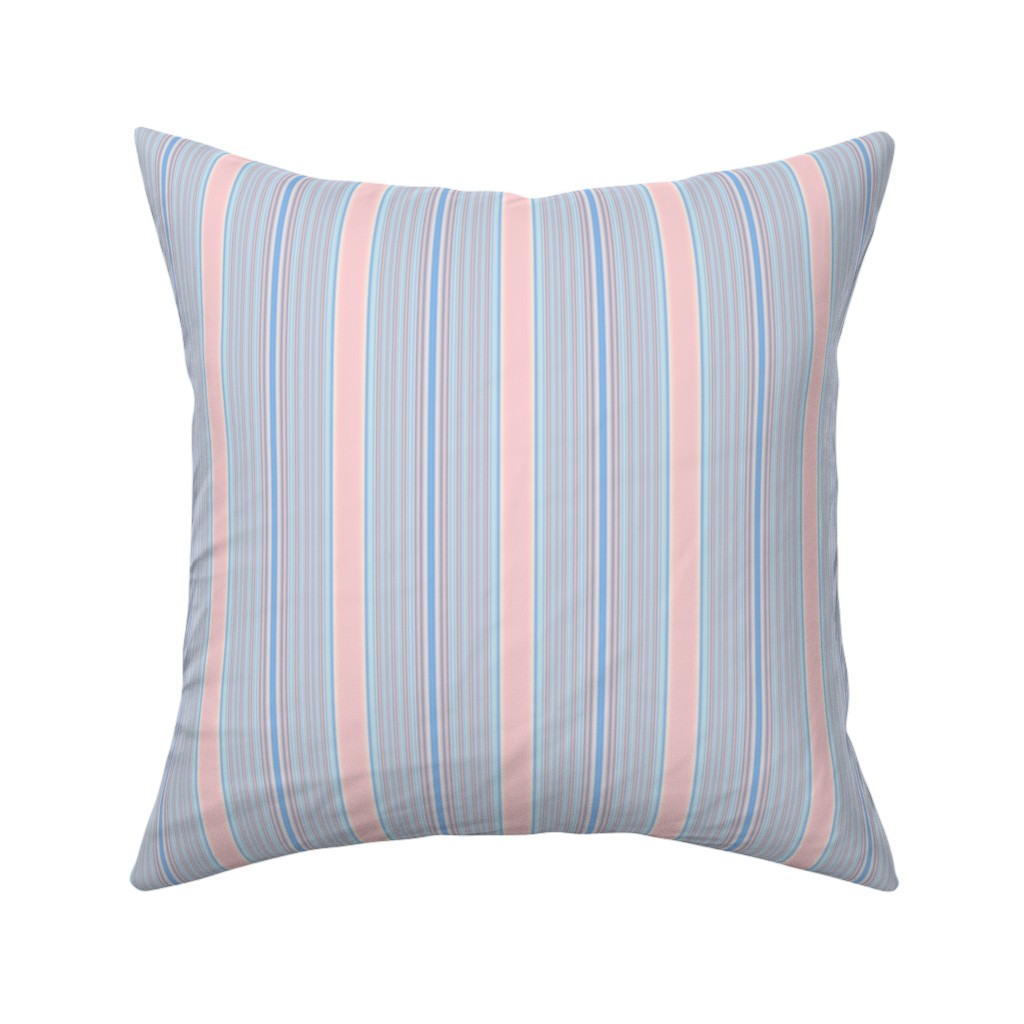 Catalan Throw Pillow featuring Pink Dawn Sky Stripe by gingezel