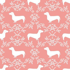 Dachshund floral dog silhouette dog breed fabric sweet pink
