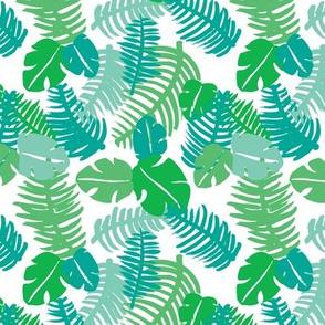 Tropical hawaiian jungle leaf design fresh green monstera garden for summer green blue
