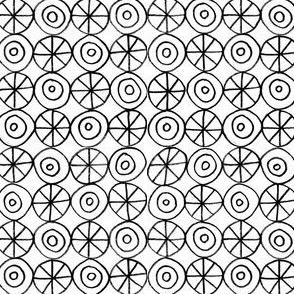 Stars and Circles. Black and White.
