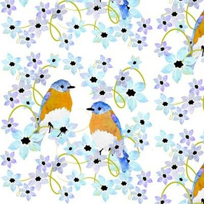 Birds and Blooms Bluebirds and flowers