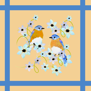 bluebirds and flowers blue lattice