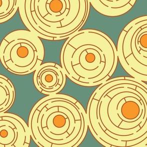 Maze in Turquoise and Orange, alternate